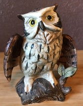 Vintage Ceramic Owl Sitting On A Log - $11.83