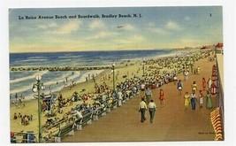 La Reine Avenue Beach and Boardwalk Postcard Bradley Beach New Jersey 1947 - $13.86