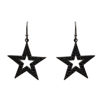 925 Sterling Silver Black Spinel Gemstone Star Of David Cluster Wedding ... - $26.76