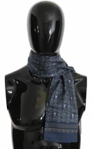 Dolce & Gabbana Mens Blue Baroque Owl Print 100% Silk Wrap 110cm x 15cm ... - $116.82