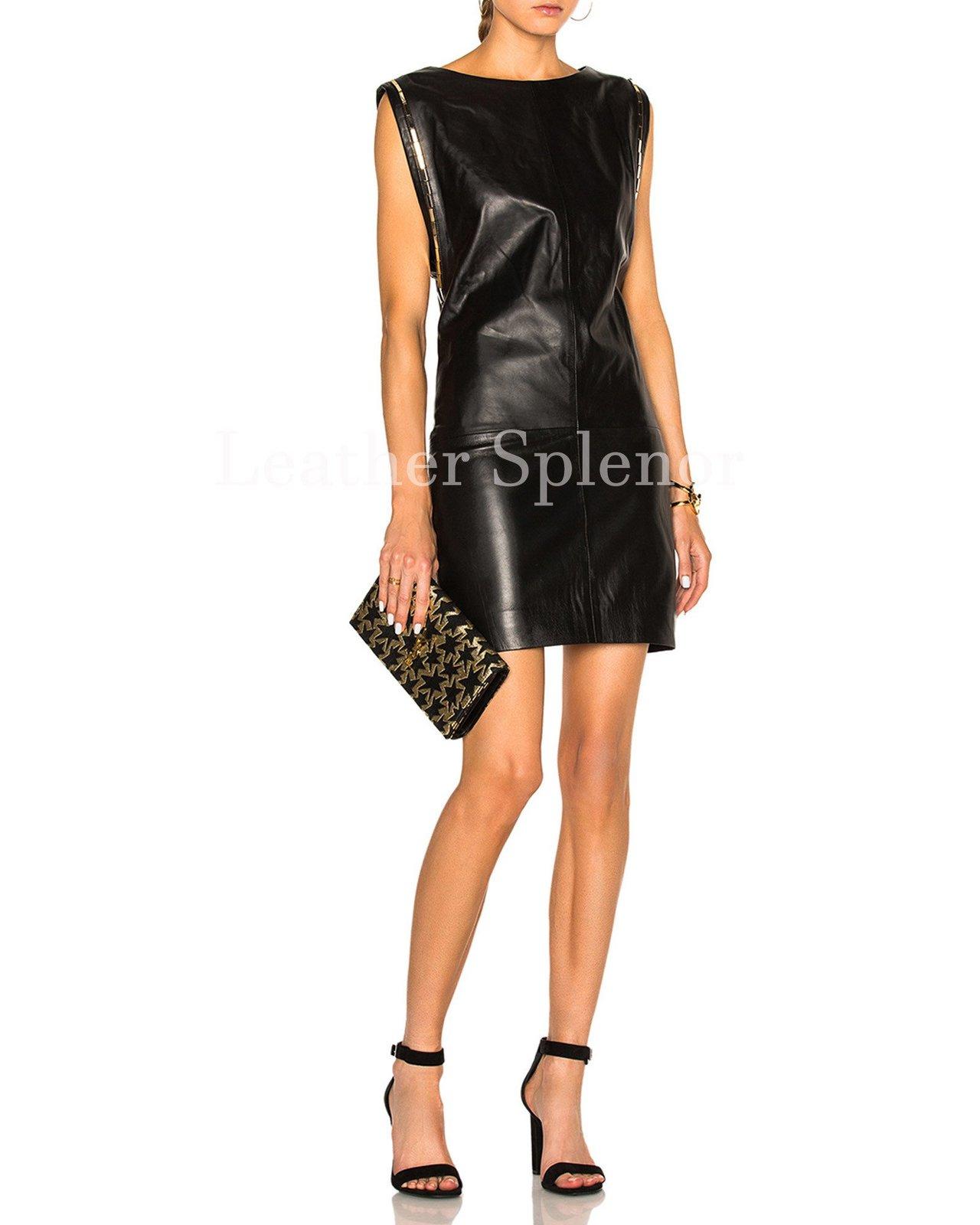 Sleeveless Women Paneled Leather Dress