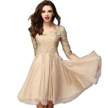 2016 New Arrival Women's Organza Dressthree Quarterlace Vintage Solid Dress - $53.76