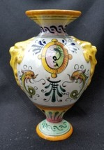 Antique Italy Ceramic Open Bottom Hand Painted Vase With Gryphons & Drag... - $110.00