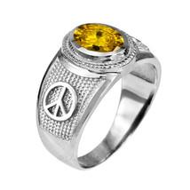 Sterlingsilber Friedenszeichen Gelb CZ November Geburtssteine Ring - $49.98