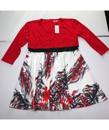 Meaneor Women's Size 4XL Red White Floral 3/4 Sleeves A Line Dress - $26.71