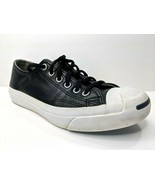 Converse Jack Purcell Sneakers Black Lace Up Leather Women 6 Men 4.5 Shoes - $26.07