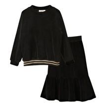 Teen Set Black Long Sleeve Blouse Big Girls Fishtail Flare Skirt Teenage... - $42.06+