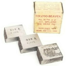 BOX OF 3 NEW TOLEDO BEAVER 999A H.S. OPENING DIE HEADS 2'' PIPE