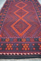 Vintage Persian Medallion Handmade Ghallmori area kilim rug >> DISCOUNTED  - $603.00