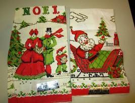 Christmas Tea Towels Santa Claus and carolers Parisian Prints All Pure L... - $24.14