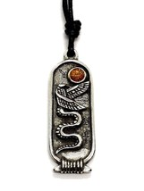 Wadjet Egyptian Zodiac Pendant 28 Oct 26 Nov Cartouche Cord Necklace - $5.90