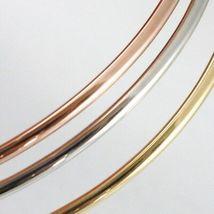 Bracelet Rigide en or Jaune Blanc et Rose 750 18K, Triple, Tris, Canne à Lisser image 6