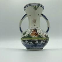 Vintage Delft Holland Windmill Vase 5.25 inch  Porcelain Vase with Handles EUC - $27.07