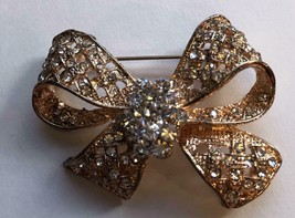 """Vintage Gold Plated Clear Crystal Bow Pin Brooch 2"""" by 1 1/2"""" - $4.95"""