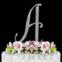 Completely Covered Swarovski Crystal Silver Wedding Cake Toppers ~ LARGE... - $12.61