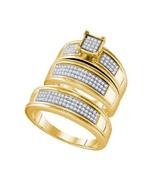 0.42 Ct Diamond 14k Gold Fn Princess Shape Engagement Ring Wedding Band Trio Set - $180.49