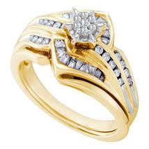 10kt Yellow Gold Round Diamond Bridal Wedding Engagement Ring Band Set 3/8 Ctw - $899.00