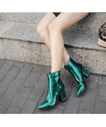 91B009 Lady's trivets Martin booties in candy color,size 4-8.5,green - $78.80