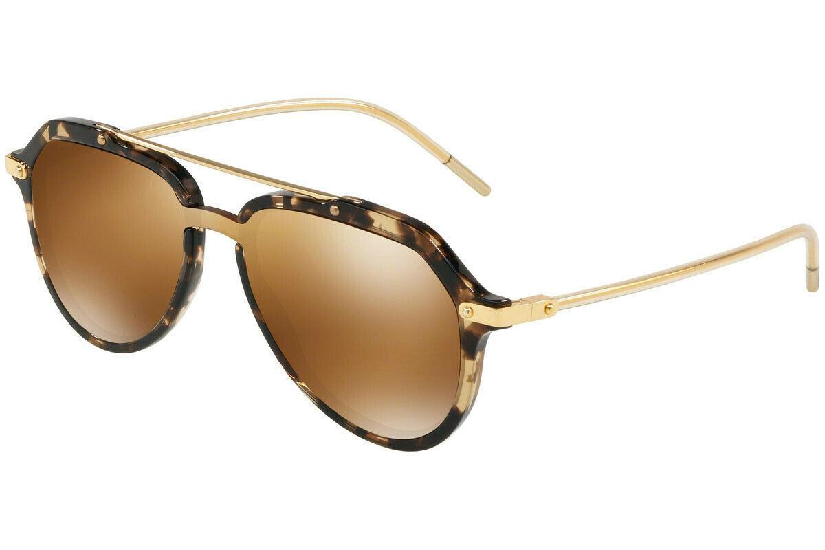 DOLCE & GABBANA PRINCE DG4330 Gold Beige Havana Mirrored Sunglasses  Unisex