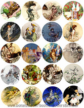 "victorian vintage fairy fairies collage sheet 2"" circle clipart digital ... - $3.99"