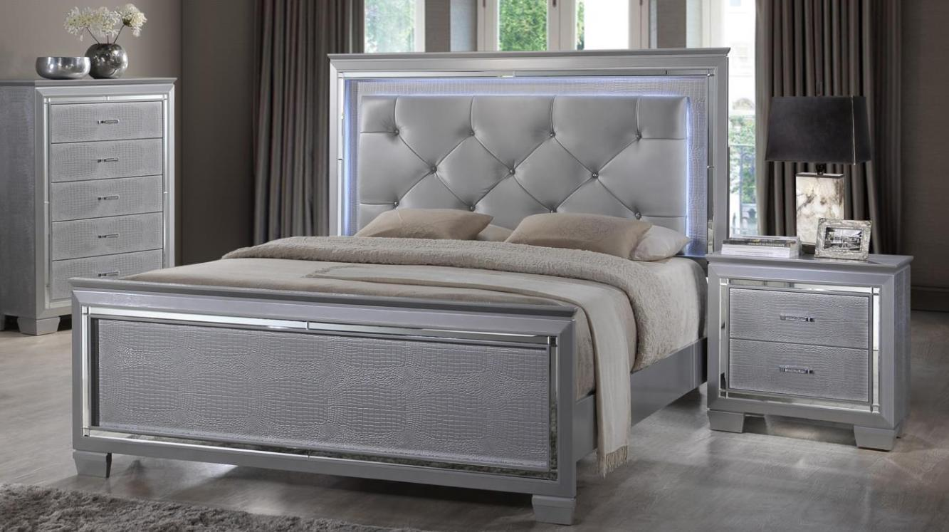 Soflex Tinley Silver Diamond Tufted Queen Bedroom Set 2P w/Led Light Traditional