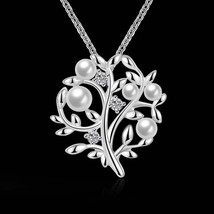 Yellow Gold Sterling Silver Sapphire & Mother of Pearl Tree of Life Neck... - $11.75