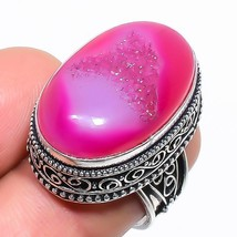 Pink Agate Druzy Vintage Jewelry Ring Size 6.5 RR1389 - $7.99