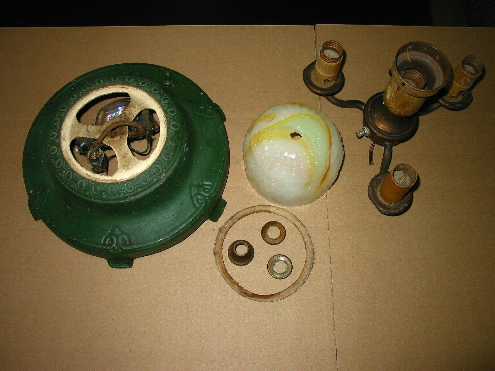 Akro Houze Green Caramel Slag Glass Floor Lamp Parts Cast Iron Base - $24.95
