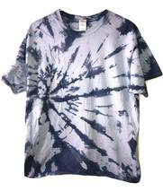 Blue Tie Dye Short Sleeve 100% Cotton T Shirt Top crewneck Mens size L Large - $9.89