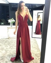 Straps Dark Red Long Prom Dress with Slit party dresses - $149.00
