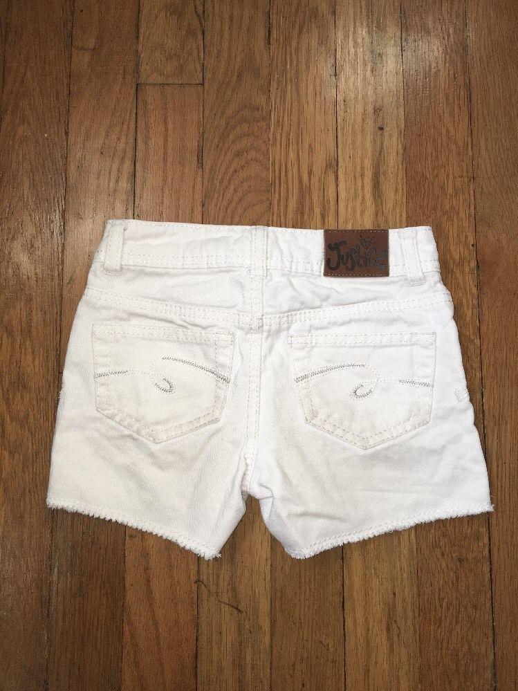 ! justice white jean denim shorts bottoms size 7 SLIM girls