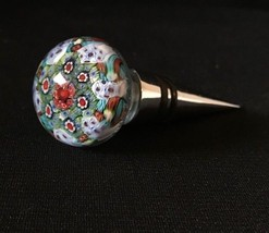 Hand Blown Art Glass Wine Stopper Floral Theme - $9.46