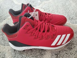 Adidas Icon Bounce Mid Metal Baseball Cleats Men's Size 11.5 red white cg5178 - $40.00