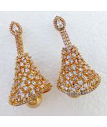 Bollywood Fashion Jewelry Earrings Ethnic Indian American Ad Pearl Jhumk... - $28.98