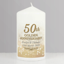 Personalised 50th Golden Anniversary Pillar Candle made to order - $20.00