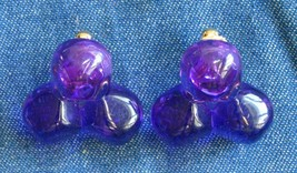 Elegant Translucent Purple Lucite Gold-tone Clip Earrings 1960s vintage ... - $12.30
