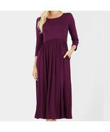 3/4 Sleeve Dress, Plum Viscose Dress, Dress with Pockets, Colbert Clothing - $29.99
