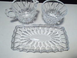 Crystal Cream & Sugar with Tray ~~ nice set with cut pattern - $3.99