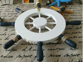 Fishing Steering Wheel Nautical Home Wall Decoration Wooden Boat Fashion... - $10.39