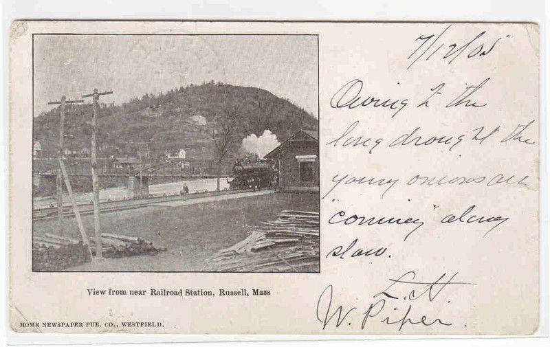 Railroad Train Station Depot Russell Massachusetts 1905 postcard