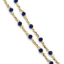 Collier or Jaune 18K 750, Cubic Zirconia Bleu, Facettes, Chaîne Rolo Ovale image 2
