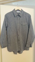 Cali and York Long Sleeve Gray Solid Buttons Down Women Shirt Medium Size - $10.40