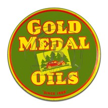 Gold Medal Oils Since 1888 Reproduction Circle Round Aluminum Sign - $16.09