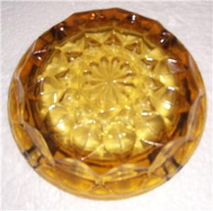 Vintage Anchor Hocking Fairfield Pattern Solid Pressed Amber Color Glass