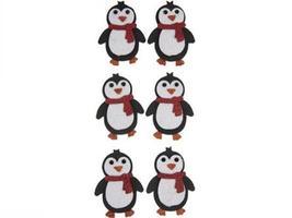 Paper Crafts-6 Pcs Penguins Glitter 3D Stickers