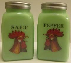 Jade Jadeite Green Glass Rooster Salt Pepper Sh... - $21.99