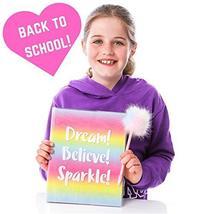 GirlZone: Glitter Rainbow Notebook and Pom Pom Pen Gift Set for Girls image 7