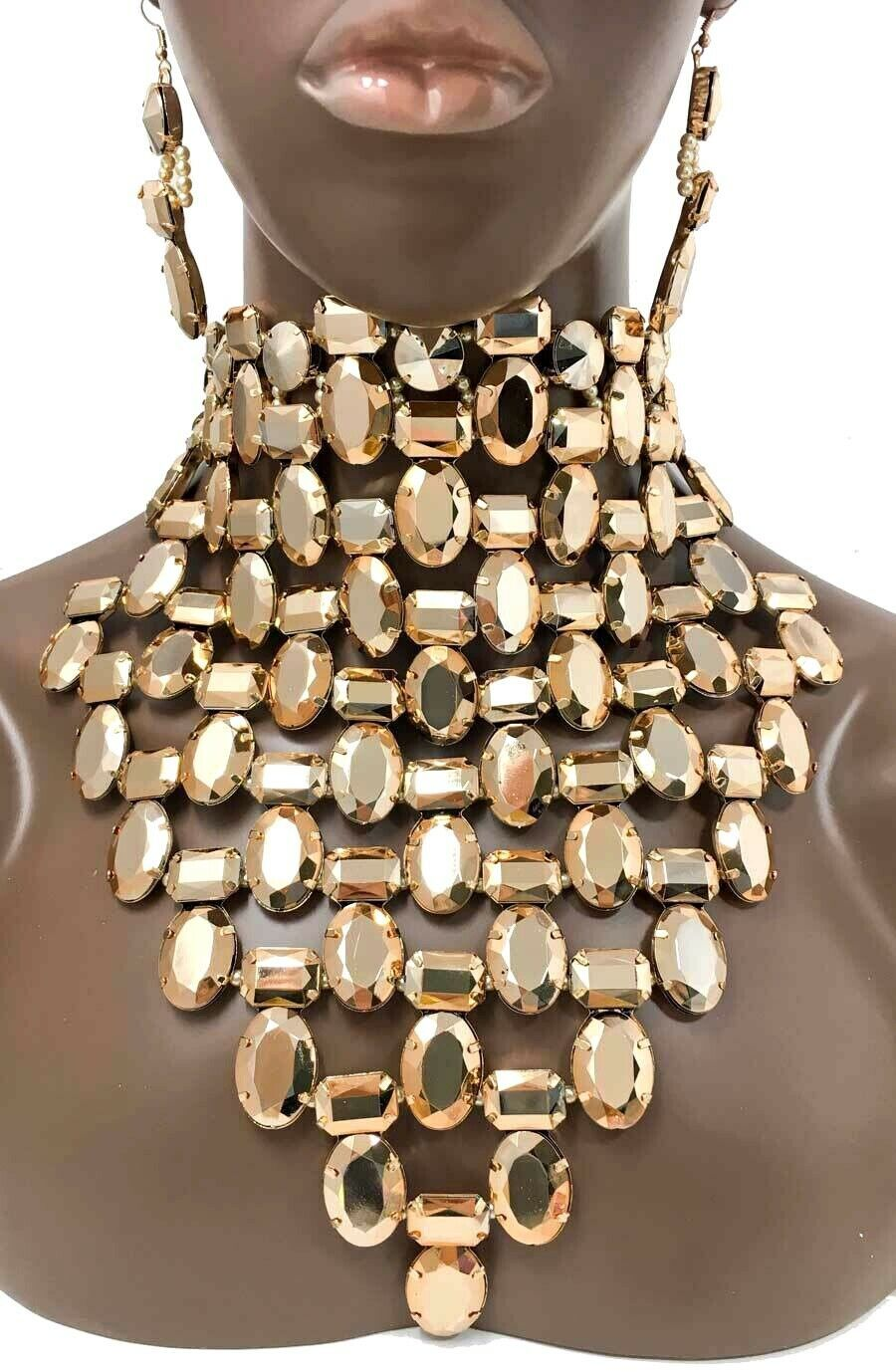 Primary image for Choker Bib Necklace Earrings Golden Acrylic Beads Drag Queen Pageant
