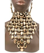 Choker Bib Necklace Earrings Golden Acrylic Beads Drag Queen Pageant   - $73.15