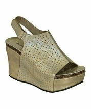 Pierre Dumas, Gold Perforated Slingback Hester Wedge Sandal, Sz 7 - $38.61